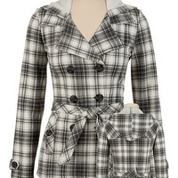 Hooded Plaid Trench Coat - maurices.com