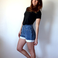 Vintage Express Striped High Waisted Denim Shorts Rolled Cuff EXP Jeans 7/8