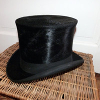 Antique French beaver top hat w silk black by MyFrenchAntiqueShop