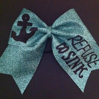3in. Glitter Anchor Cheer Bow Refuse to Sink Cheerbow