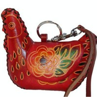 Amazon.com: Flame Red Chicken Shape, Genuine Cowhide Leather Coin/change Purse, Hand-made & Unique.: Clothing