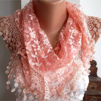 Light Coral Shawl Scarf  Headband with Lace Edge  by womann