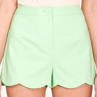 High-Waisted Scalloped Shorts