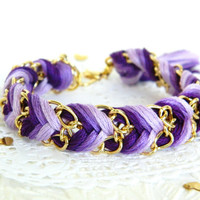 Violet Ombre - Chevron Braided Modern Friendship Bracelet - Gold Chain