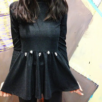 Black Peplum Top With Skull Charms