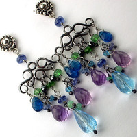Multicolor Chandelier Earrings Wire Wrapped by TownCountryJewelry