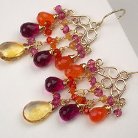 Multicolor Gemstone Gold Chandelier Earrings by TownCountryJewelry