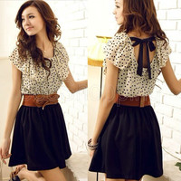 Hot Sexy Women Summer Casual Short Sleeve Chiffon Dot Polka Waist Top Mini Dress