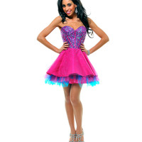 Fuchsia & Blue Strapless Sequin Tulle Tutu Cocktail Dress - Unique Vintage - Prom dresses, retro dresses, retro swimsuits.