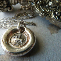 Cantering Horse Wax Seal Necklace. Fine Silver Jewelry. Equestrian Woman on the Horseback. Wax Seal Jewelry