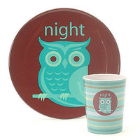 Night Owl Melamine Plate & Cup
