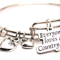 Everyone Loves A Country Girl Two Expandable  Cuff  Bracelets with Crystal beads  Free shipping