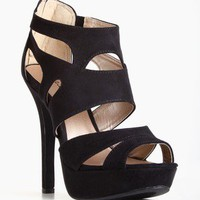Qupid Gaze-239 Black Suede Strappy Heel @ FrockCandy.com
