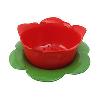 Red Rose Colander with Green Dew Bowl 