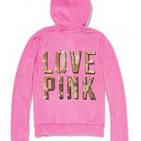 Velour Zip Hoodie - PINK - Victoria's Secret
