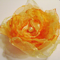 Wedding Hair Flower, Orange and Yellow Organza Flower, Maternity Sash