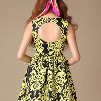 Vine Flowers Ruffles Dress$69