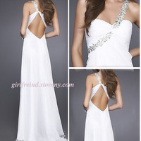 Charming one-shoulder beading floor-length prom dress-4colors