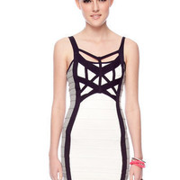 Asterisk Bandage Dress in Ivory and Navy :: tobi