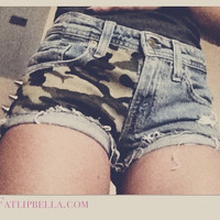 Army military Camo Camoflauge low waist distressed shorts with spikes