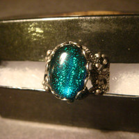 Antique Silver Ox Dichroic Glass Galaxy Ring  - Adjustable (1007)