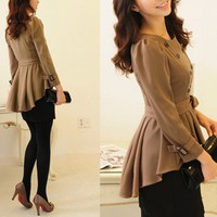 Beige Ruffle peplum trench Dress