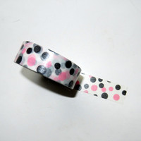 Pink and Black Polka Dot Washi Tape