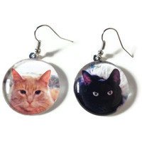 Personalized Pet Earrings, Custom Photo Dog Cat Jewelry, Nickel Free