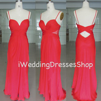 Spaghetti Straps Sweetheart Long Chiffon Red Prom Dresses, Evening Dresses, Wedding Party Dresses, Evening Gown