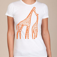 WOMENS Urban Giraffes american apparel White T by happyfamily