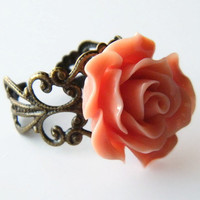 Adjustable Rose Filigree Ring, Bridal Party Jewelry, Bridesmaid Ring, Ladies Rose Ring, Floral  Adjustable Ring