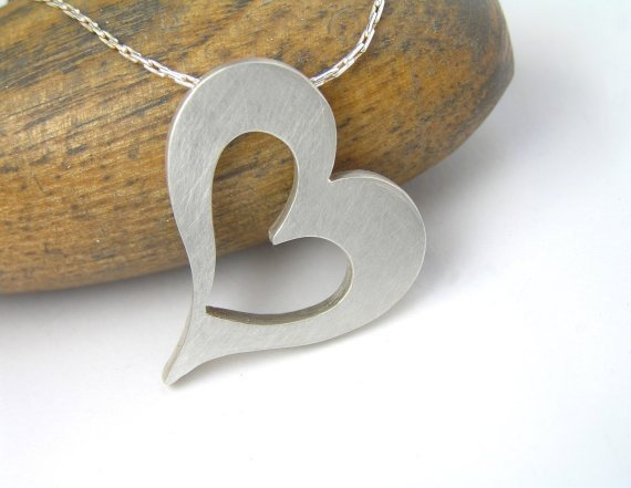 Silver Heart Necklace  Big Heart Pendant by DaliaShamirJewelry