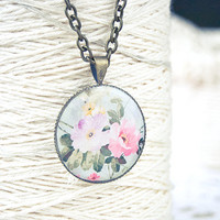Shabby chic necklace - floral jewelry, spring fashion, pink peony flowers pendant