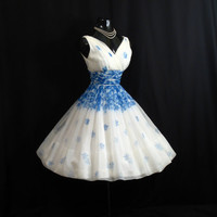 RESERVED Vintage 1950's 50s Blue White Floral Roses Chiffon Organza Party Prom Wedding DRESS