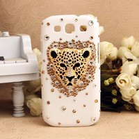 Samsung Galaxy S3 Leopard Face Shiny Crystals 3D Girly Back Case - Samsung Phone Cases - Phone Cases Personalized Couples Jewelry | Occasions Uncommon Gifts | Unique Phone Cases | Worldwide Shipping
