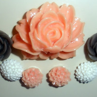 Peach White Gray Flower Magnet Set of 7 Magnets Pink home decor Refridgerator Mum Cabochon rose grey