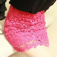 Red High Waisted Lace Mini Skirt