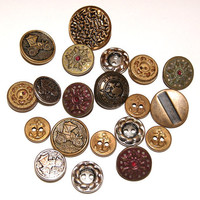 20 Metal Buttons Fancy Vintage Mixed Variety by scrapitsideways