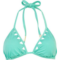 Mint green triangle cut out bikini top - bikinis - swimwear / beachwear - women
