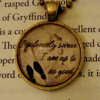 Harry Potter Marauder's Map Necklace. I Solemnly Swear... Harry Potter Inspired. 18 Inch Ball Chain.