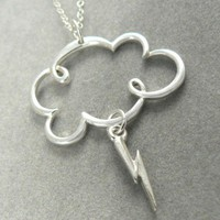 Lightning Storm Cloud Sterling Silver Charm Clouds Rain Necklace