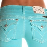 Amazon.com: Miss Me Denim Jeans Womens Thick Stitch 25 Skinny Aqua JW5180S13: Clothing