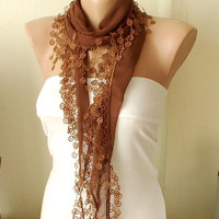 Brown Cotton Scarf with Circle Lace by Periay on Etsy