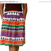 ON SALE Spring Chevron Midi Skirt in Colorful Tangerine Tango, Purple Rhapsody, Ultamarine Green, Brown and White with Two Pockets - Ready