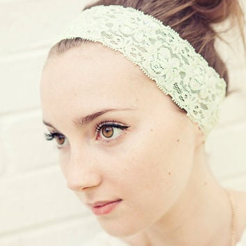 READY TO SHIP Pastel Green Stretch Lace Headband with sequins for that special event