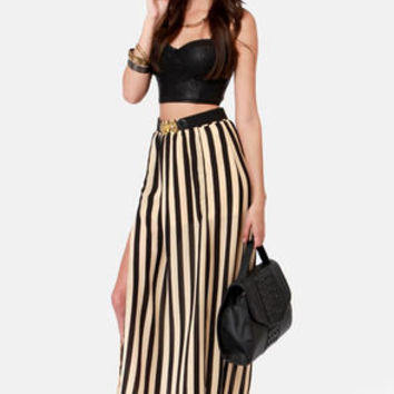 Riviera Romance Beige and Black Striped Maxi Skirt