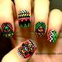 Neon aztec eye fake nails by CompulsiveNails on Etsy