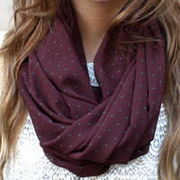 Polka Dot Infinity Scarf, Eternity Scarf, Circle Scarf, Maroon, Teal