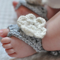 Baby Barefoot Sandals with Flower by littlebugaboos on Etsy