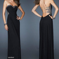 Luxurious elegant black beading evening dress